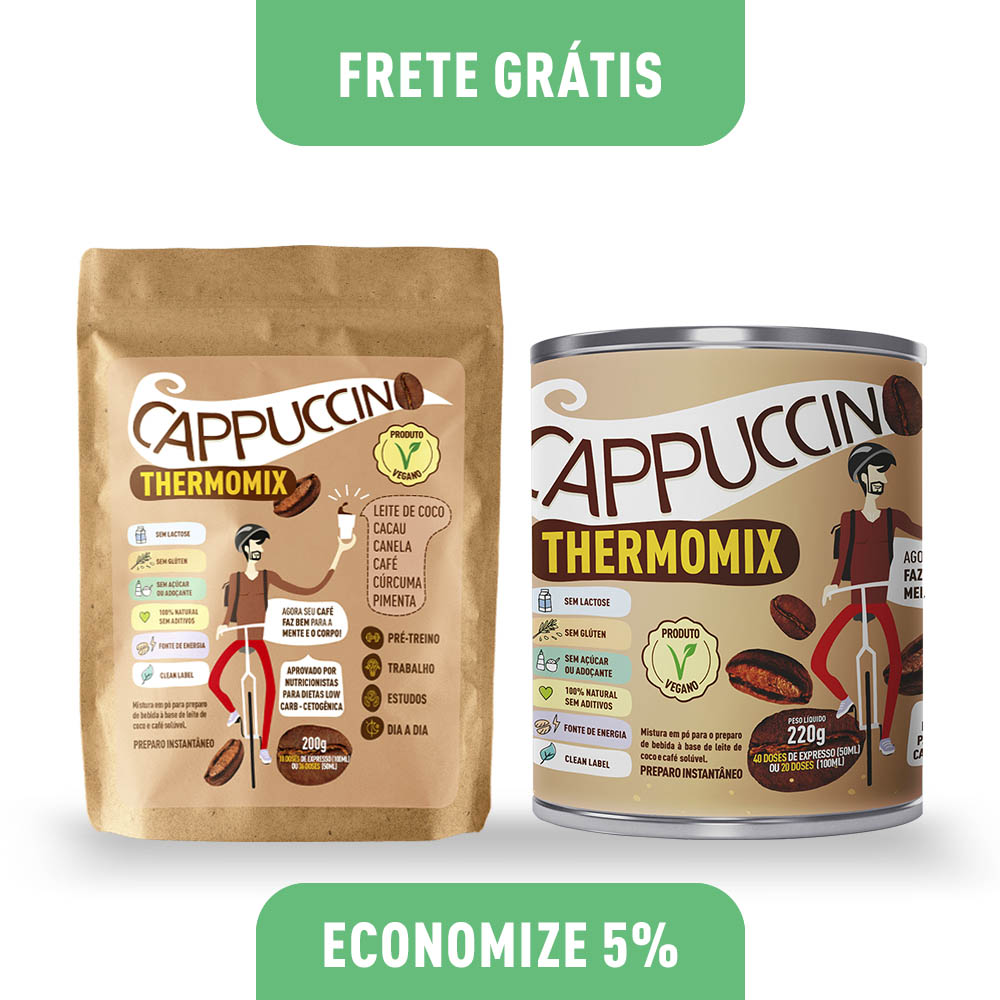Kit - Cappuccino ThermoMix - Lata + Stand Up Pouch- Mix Brasil Fit