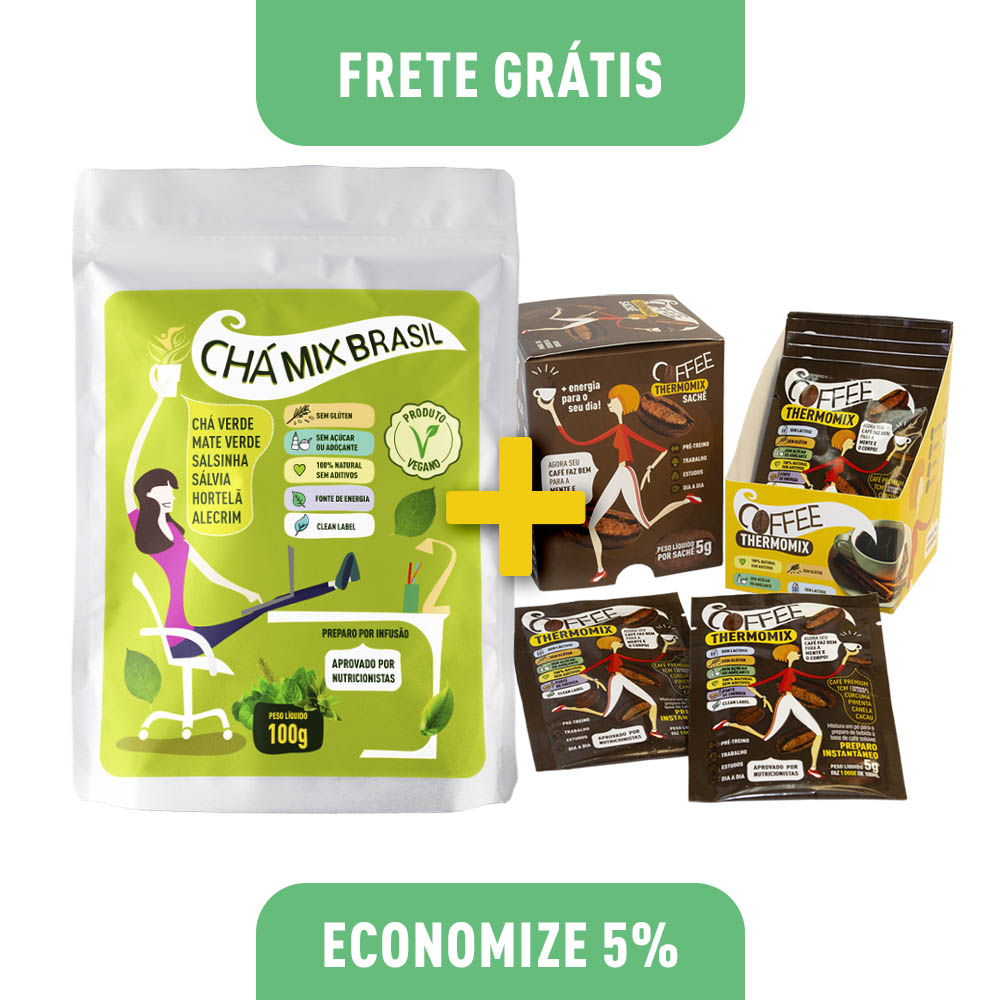 Kit 1 Chás Mix Brasil 100g (Stand Up Pouch) + Coffee ThermoMix 50g (Display)
