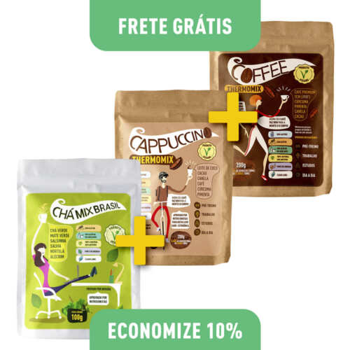 Kit 1 Chá Mix Brasil 100g + 1 Cappuccino ThermoMix 200g + 1 Coffee ThermoMix 200g (Embalagens Stand Up Pouch)