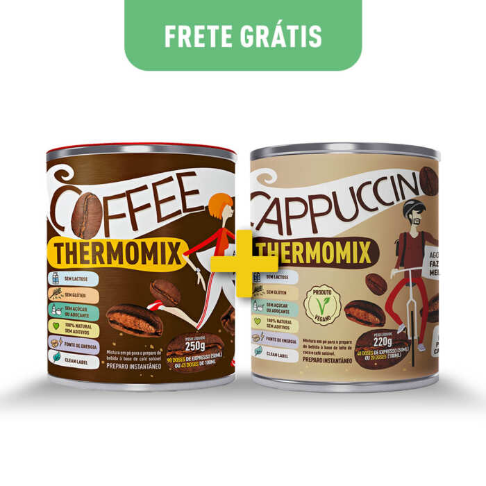 Kit Latas - Coffee ThermoMix + Cappuccino ThermoMix - Mix Brasil Fit